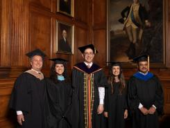 2019 Secondary School Teaching Awardees with President Christopher Eisgruber